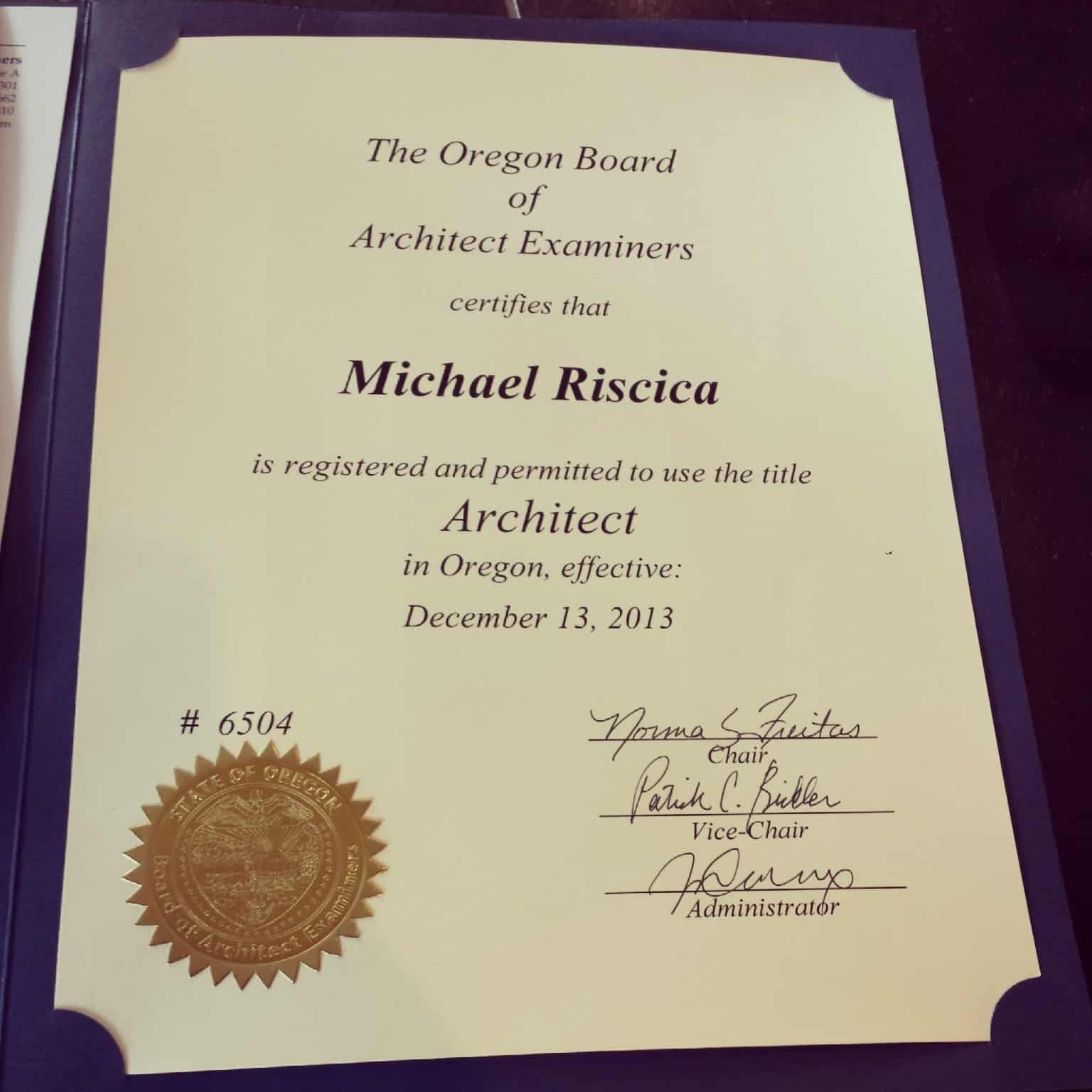 Passed the Architecture Registration Exam
