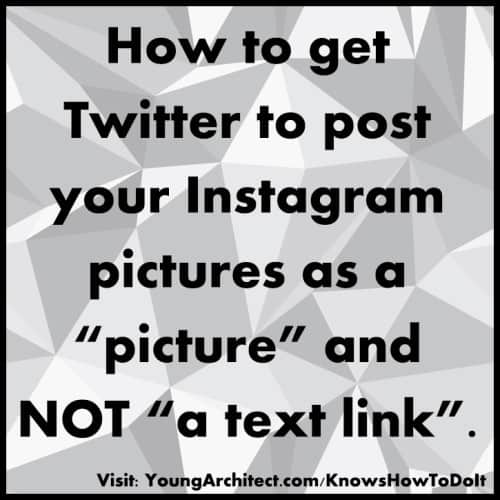 Instructions on how to post instagram pictures in twitter.
