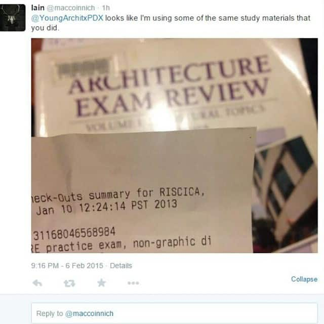 A tweet to Mike Riscica regarding Architecture studying material