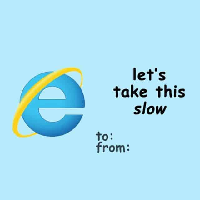 Hilarious Valentines Day card with Internet Explorer pun
