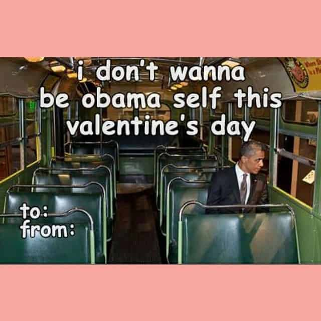 Valentines Day card with Barack Obama