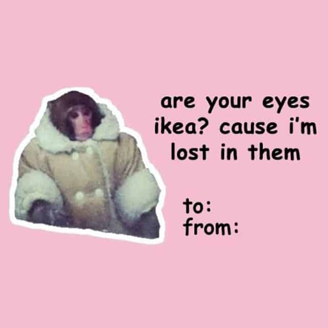 Cute Valentines Day card with a little monkey
