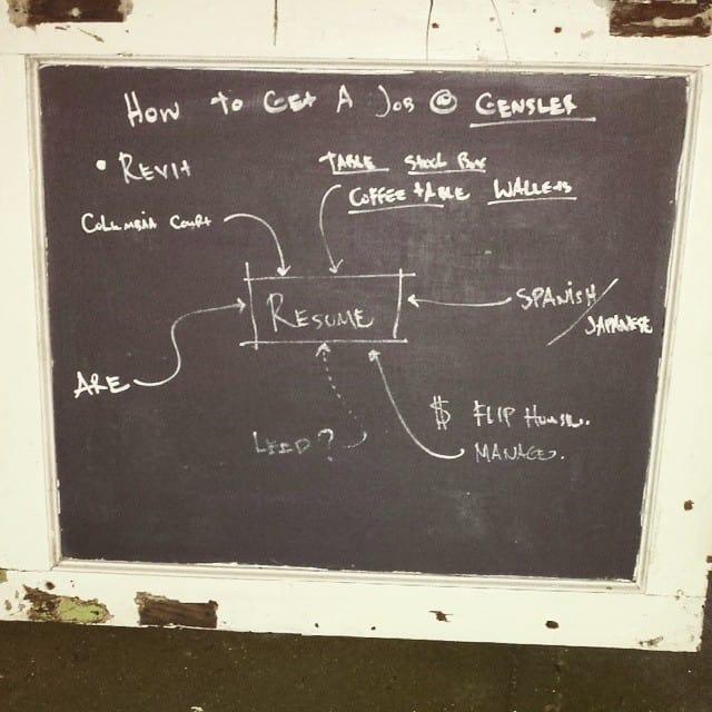 Black board scheme on how to get a job at Gensler