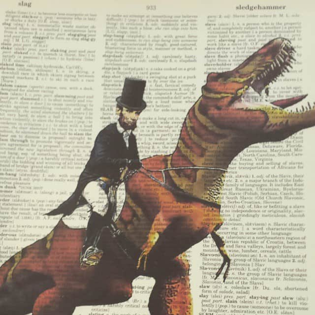 Picture of Abe Lincoln on a dinosaur made by Mike Riscica