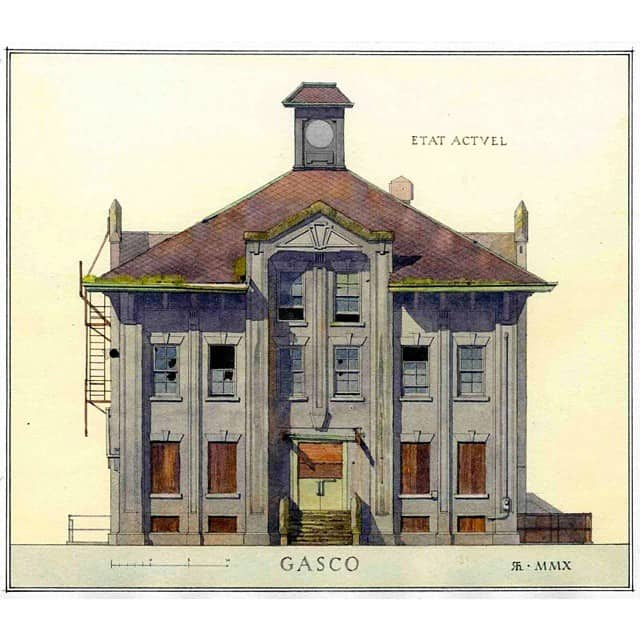 Gasco Building watercolor by Richard Hoyen