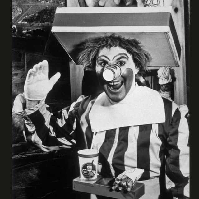 Ronald Mcdonald black and white picture dressed up