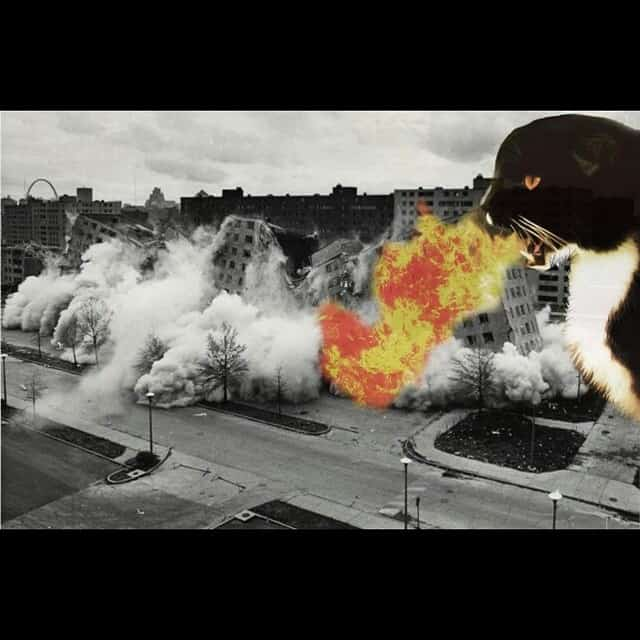 Cat spitting fire over Portland