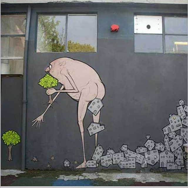 Graffiti on the street - eating trees, shitting buildings