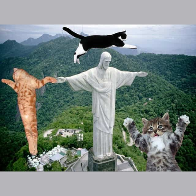 Cats and Jesus statue meme