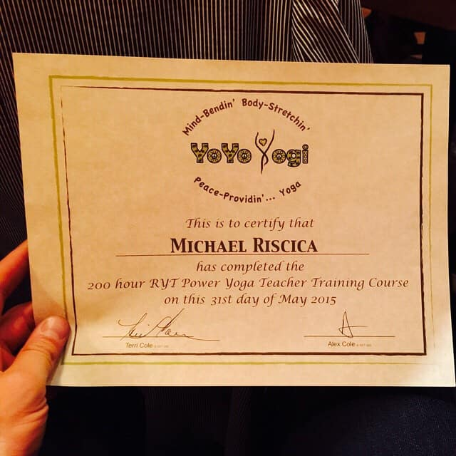 Mike Riscica officially becomes a Yoga Trainer