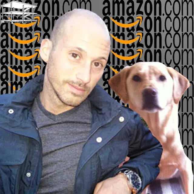 Man and Labrador with Amazon background