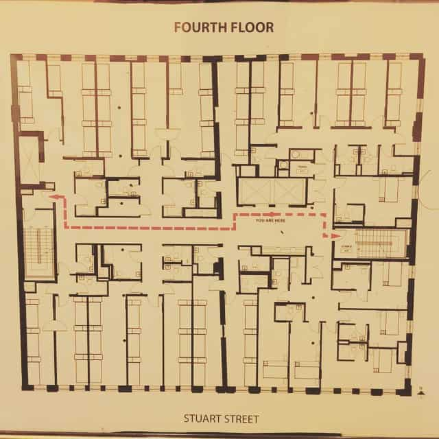 A plan of a hotel's floor