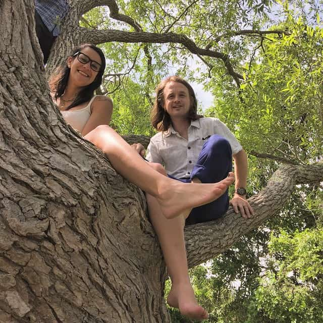 Couple having fun in a tree