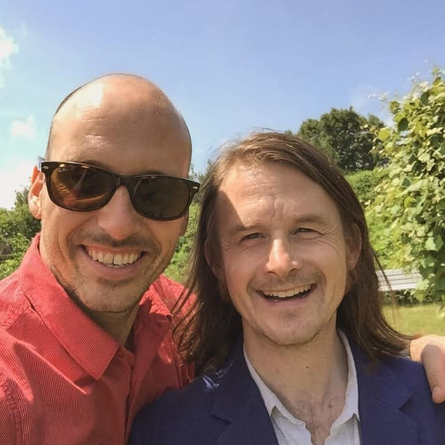 Two men selfie at wedding