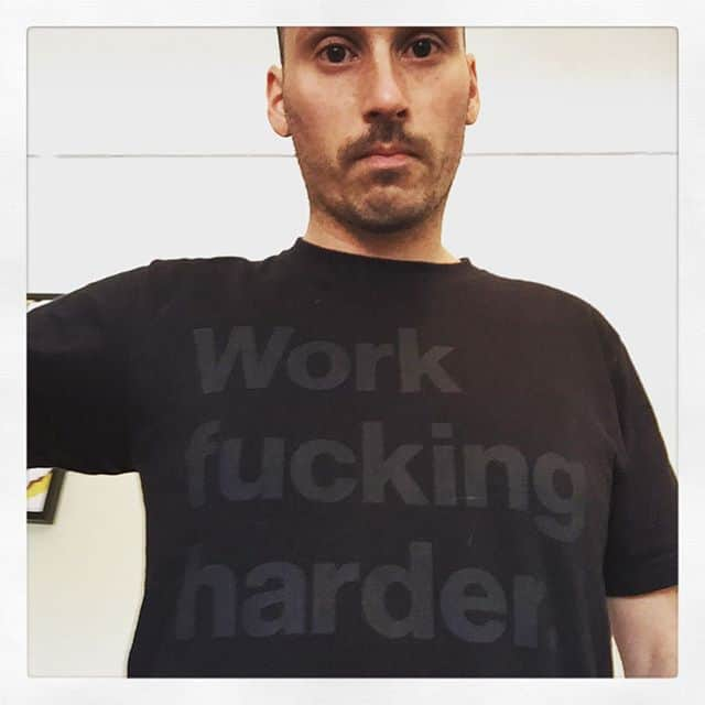 New black shirt with 'Work fucking harder'
