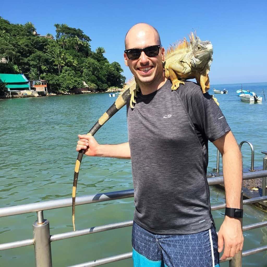 Mike Riscica and a Iguana