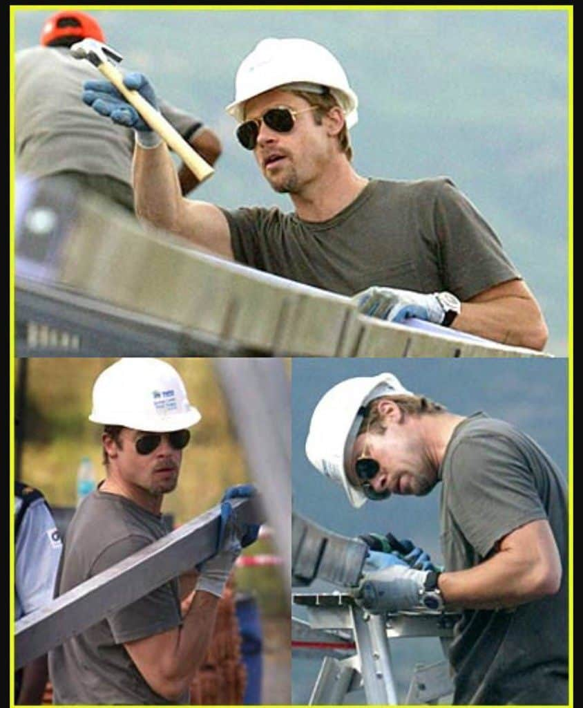 Brad Pitt working as a constructor