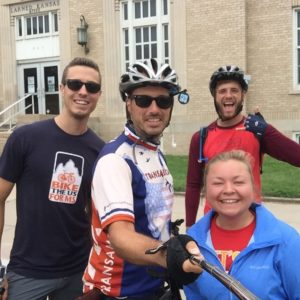 Saw the Bike The US For MS Van today in Larned! I gave them a pile of Dude Robot stickers and they gave Austin and I both new bike jerseys!! Seems like a fair trade! #Transam2016 #Biketouring #Bicycletour #CycleTouring #AdventureByBike #RideYourBike #GetOutAndRide #worldbybike #BikeTour #Bikepacking #AdventureCycling #DudeRobot #biketheusforms #biketheusformstransam2016 #🚴🌪 @biketheusforms
