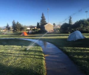 Scene from yesterday morning in Walden Colorado. We camped exactly where they told us to and 20 cross country cyclists were all hosed down by sprinklers on a 32 degree night. It's funny now, but it wasn't funny yesterday. #Transam2016 #Biketouring #Bicycletour #CycleTouring #AdventureByBike #RideYourBike #GetOutAndRide #worldbybike #BikeTour #bikenation #bikewander #bikesofinstagram #Bikepacking #AdventureCycling #DudeRobot
