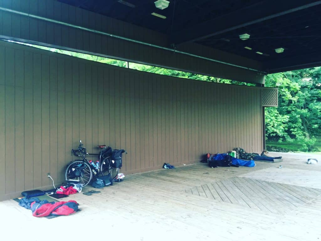 Mile 461 - Last night I camped in the Wytheville Park with a Thru-Hiker and a Hitchhiker who was traveling from Florida to Maine. #transamerica2016 #biketouring #youdontneedatenttocamp #crosscountrycyclingtour