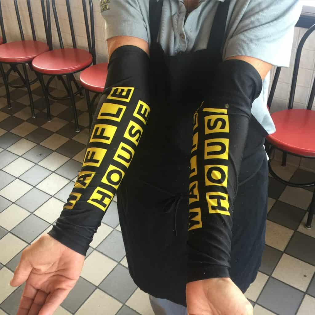 Waffle House Lycra Arm Warmers! Way cooler then our ugly cyclist arm warmers! #biketouring #transam2016 #wafflehouse #armwarmers #lycra #cyclingadventures #cyclingclothing