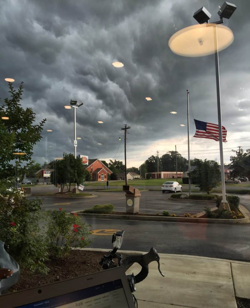 Huge nasty storm about to roll through. Great opportunity to hang out in McDonalds and catch up on some blogposts. Hope all the other #transam2016 riders are safe. #biketouring #biketour