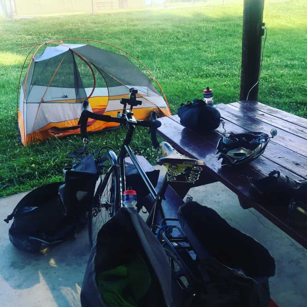 Camped last night in the same place I camped in 2005. Rode 70 miles through some brutal heat and some rollercoaster Ozark mountains. Getting warmed up for Kansas! #transam2016 #bicycletouring #nothomeless #nothousefree
