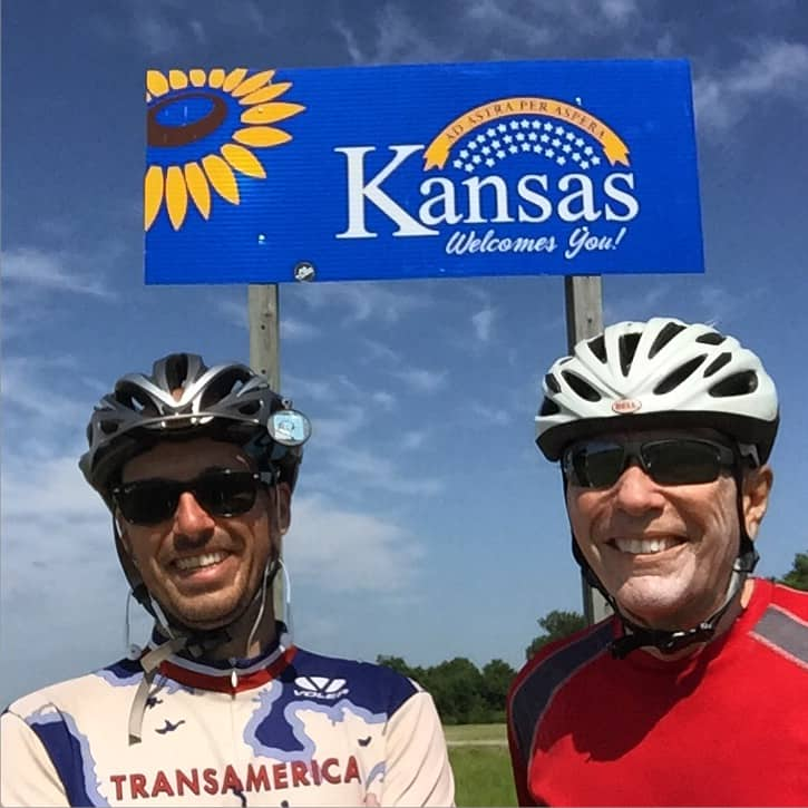"Hey Mama, I'm in Kansas now!!! ?????? This is my new friend Gary, he lives a few miles away. I met him while I was riding today. Gary has crossed America FOUR times on a bicycle, coast2coast! I asked him if he would do it again and he said ""...well I dunno, bicycle touring is a little bit addictive."" #transam2016 #biketouring #adventurecycling #bikepacking #bicycletouring #selfiestick"