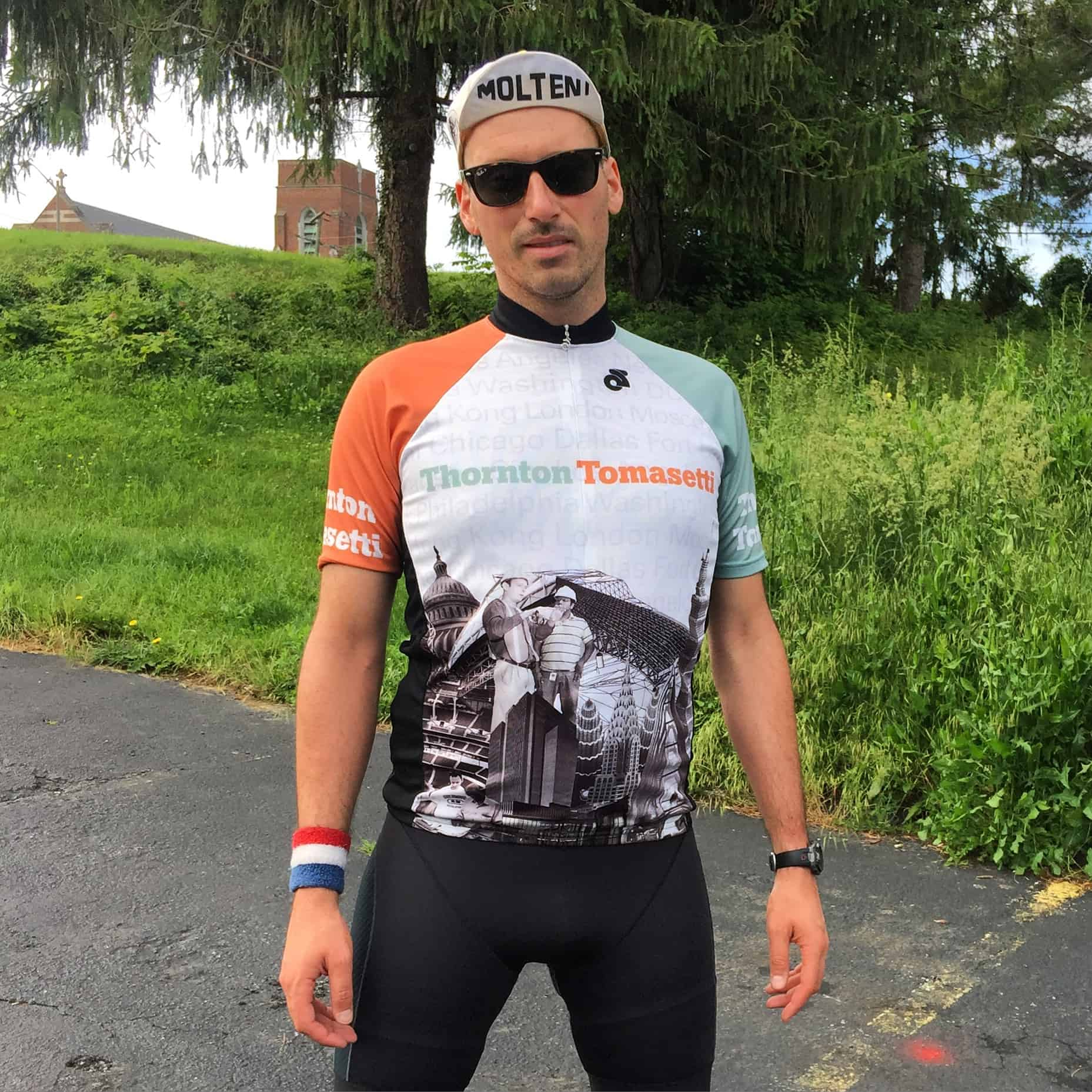 My Thornton Tomasetti bike jersey is my favorite. My best friend from Architecture School @cvwphoto designed it and sent it to me a few years ago. It has pictures of all their buildings on it! He has worked for TT for over 10 years! #amazing #architectsonbikes #thorntontomasetti #⛰ #blueridgeparkway #coast2coastbikeride #molteni #mikeriscicavip #smugglinggrapes