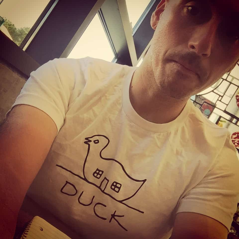 Everyone get jealous of my Long Island Duck t-shirt. Ready set go! #aicon2016 #decoratedshed #longislanduck #bigduck #formfollowsfunction #notreally #robertventuri #tan #NYItalian #mikeriscica666 #wds2016