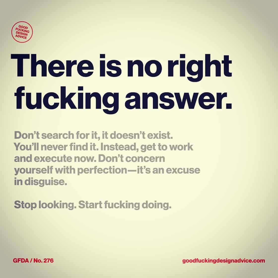 The ability to execute is 10 times more valuable then being a great designer! Stop worrying so much about design and focus on the execution. @gooddsgnadvice