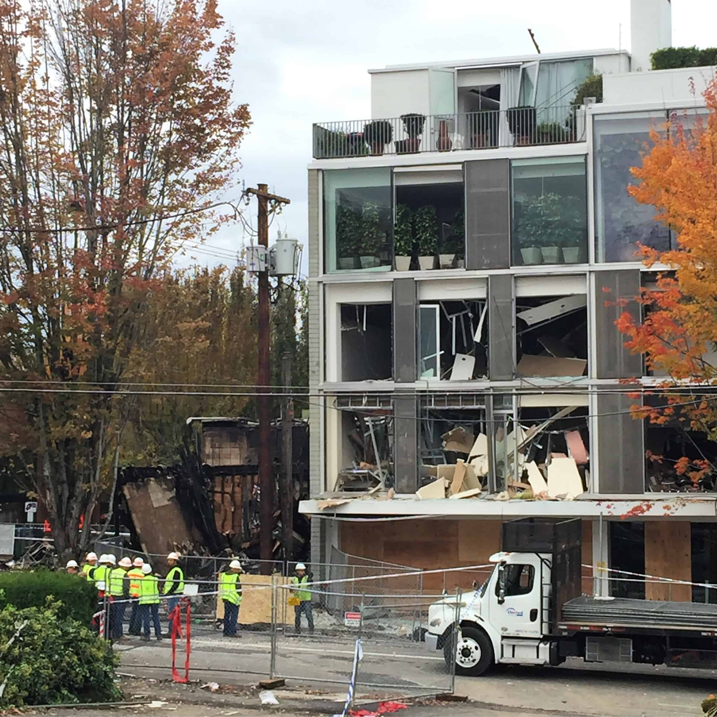 Natural gas explosions really aren't that cool. No one was killed, but a lot of people got hurt. Architects need to write CALL BEFORE YOU DIG! on your drawings and double the font size! This new building for restoration hardware is off to a really bad start.
