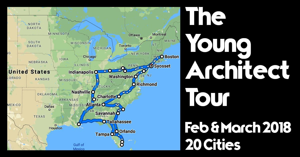 the young architect tour in february and march 2018