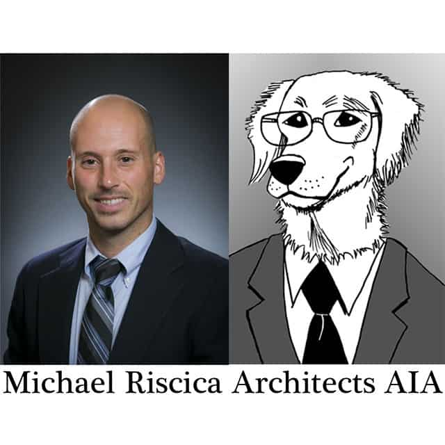 Michael Riscica and a dog in a suit