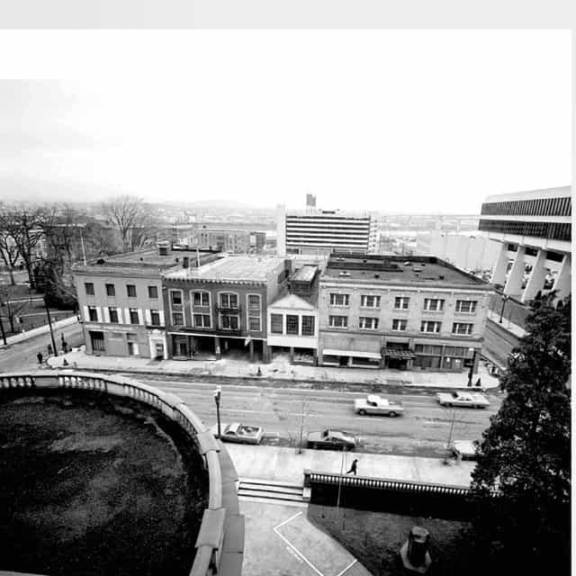 View from top floor of city hall in the 70's