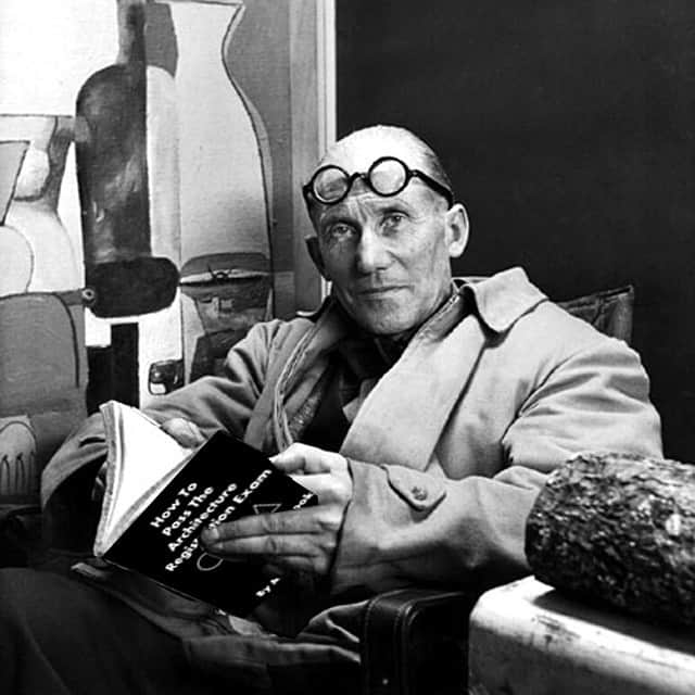 Le Corbusier reading a 2015 book