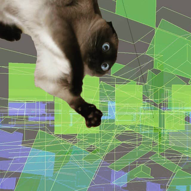 Huge cat on abstract geometrical figures