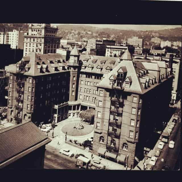This is the Portland Hotel. It stood where Pioneer Courthouse Square is today. It was the coolest building in Portland for a long time... But... It was financially unstable from the very beginning and was torn down in the 50's to be a parking lot for the bustling downtown department store.  Whidden & Lewis was the Architect. They also did the courthouse across the street and City Hall. In 1980 a meeting of the (great postmodern) minds had a design competition that gave us the pioneer square we know and love today.