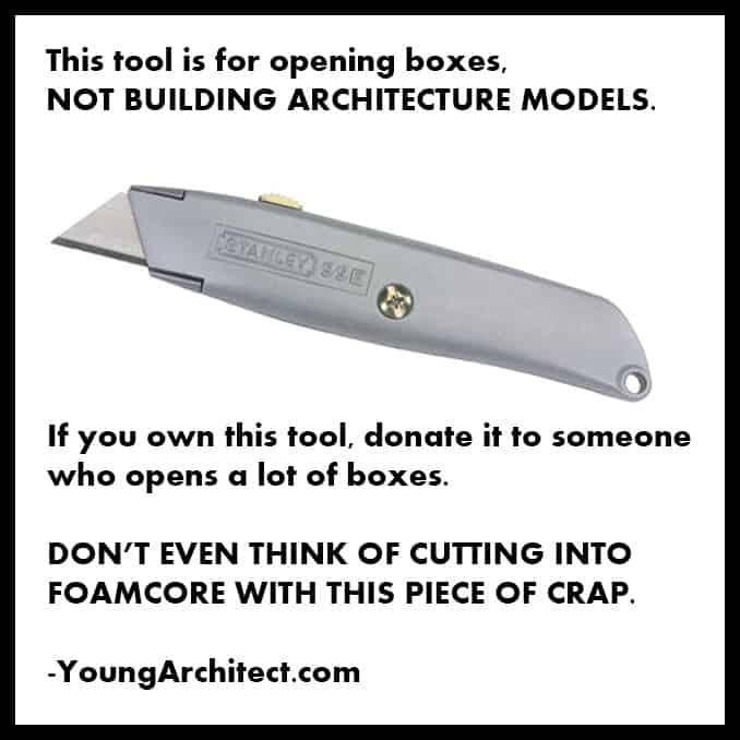 Box knife for building architecture models