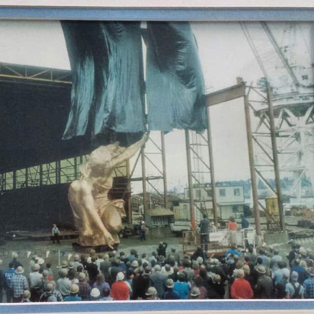 Unveiling the new Portlandia sculpture
