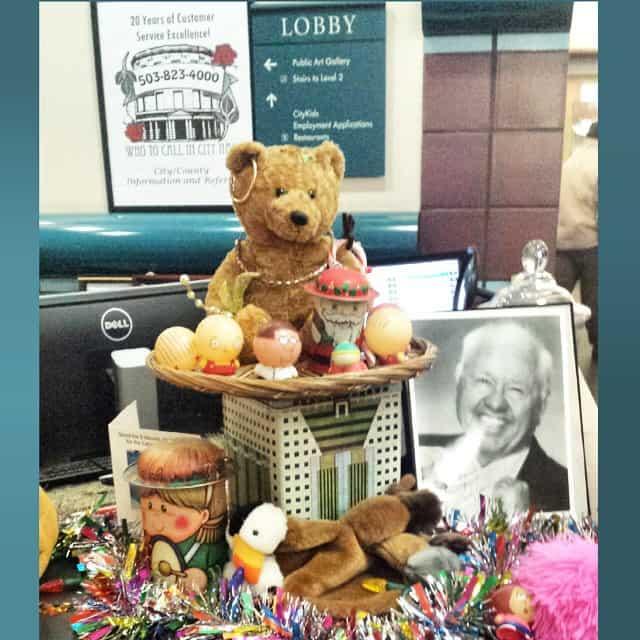 A teddy bear in a Portland buiding