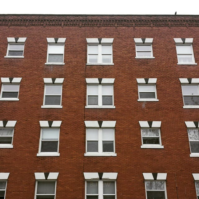 Picture of a building with white windows