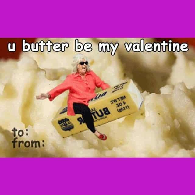 Gross Valentines Day card with Butter pun