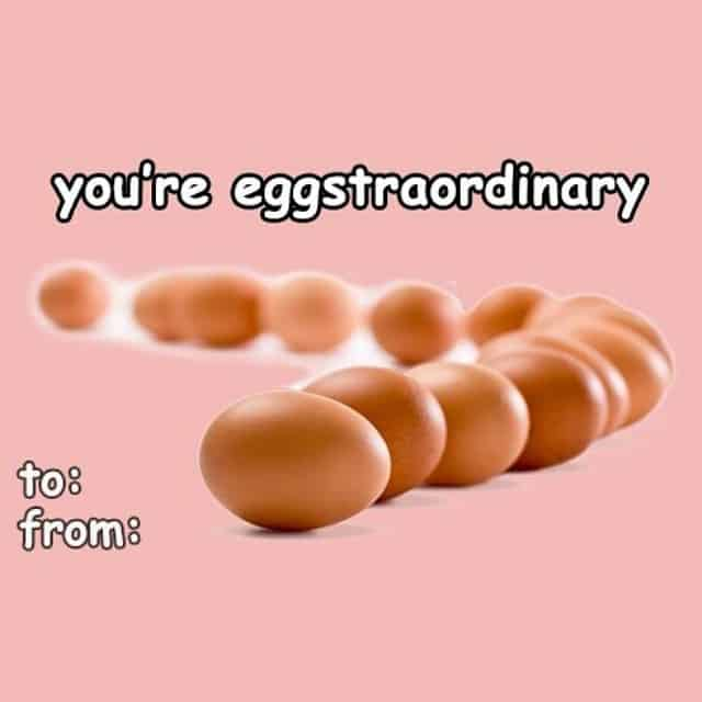 Funny Valentines Day card with eggs