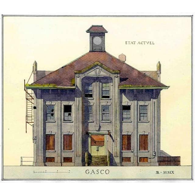 Gasco Building watercolor by Richard Hoyen