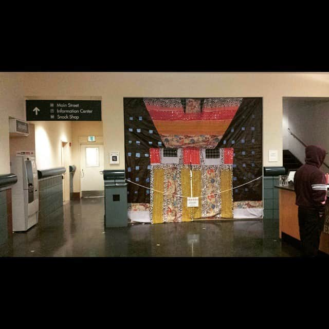Giant quilt of Portland Building in the lobby