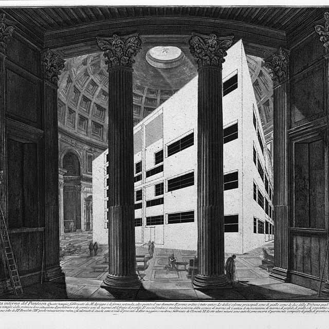 Black and white drawing with innovative buildings