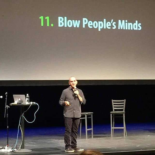 Guy giving a speech about blowing people's minds