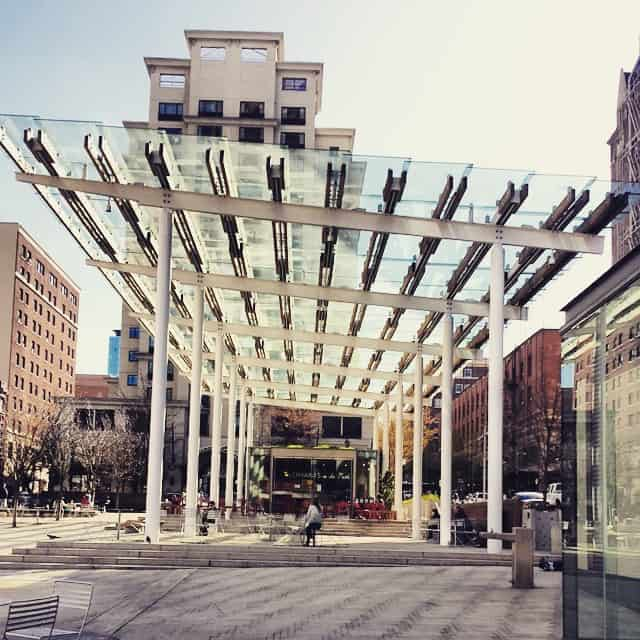 Portland park with Plexiglas roof
