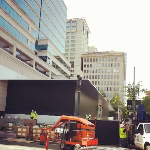They are building a new apple store in downtown and they are really secretive about it. They covered the glass with black paper.